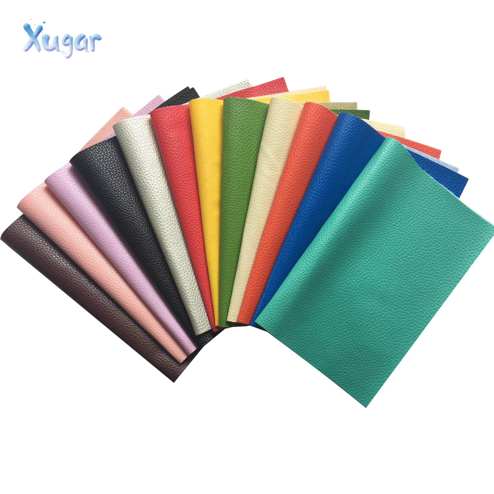 Xugar 22CM*30CM Litchi Pattern Faux Leather Fabric For Sewing Artificial Synthetic Pu For DIY Bag Shoes Material Hademade Fabric(China)