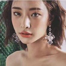 Luxury Crystal Drop Earrings Fashion Statement Water Drop Crystal Flower Pendant Dangle Earrings for Women Bridal Jewelry Gifts