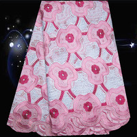 5yards Lot PC91 11 White Pink Fuchsia New Arrival 100 Cotton African Embroidered Lace Fabric