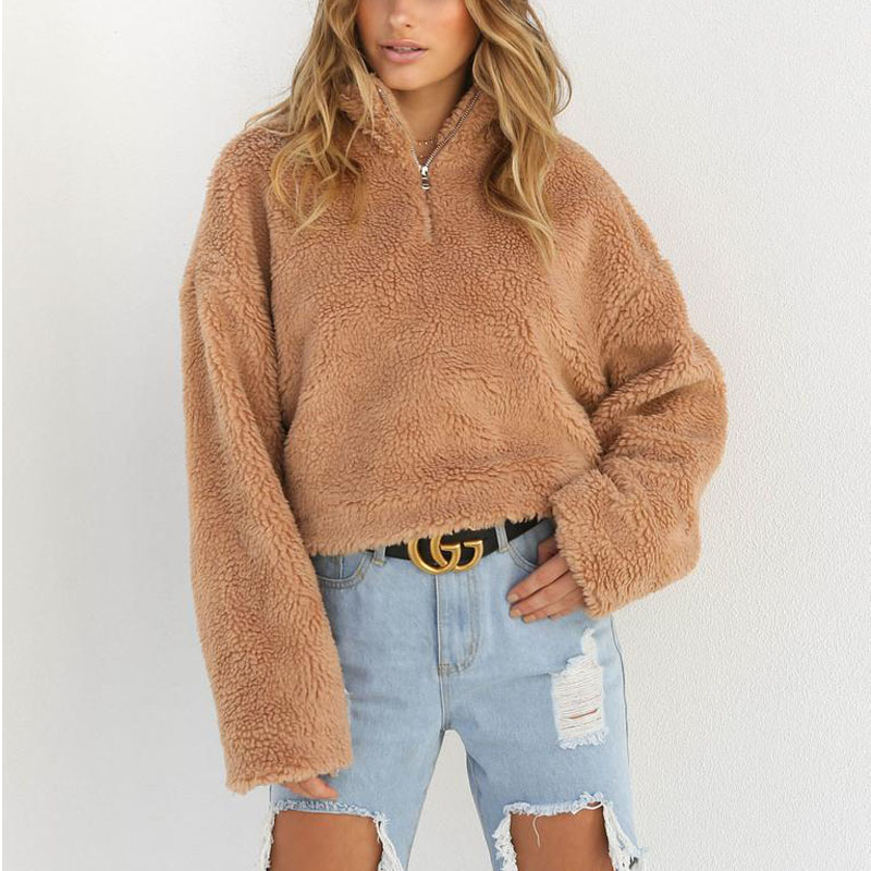 Women Wool Warm Clothes Blouse Pullover Tops Coat Zipper Neck Autumn Clothing Winter Women's Clothing Long Sleeve Top 4