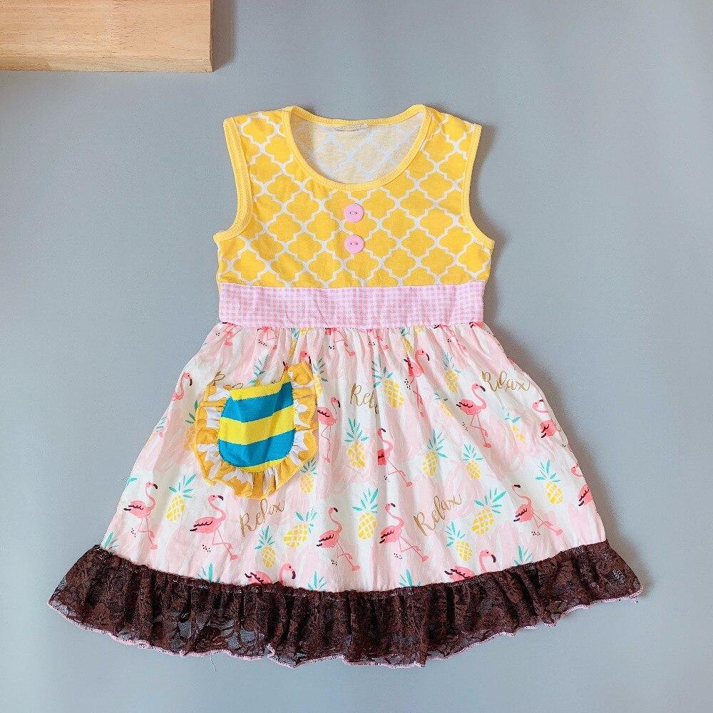2019 Summer Yellow flamingo dress singlet dress present of Baby Girls Dress Apparel Accessory2019 Summer Yellow flamingo dress singlet dress present of Baby Girls Dress Apparel Accessory