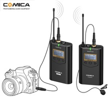 COMICA CVM-WM100 Professional UHF 48 Channels Omni-directional Wireless Lavalier Microphone System for Canon Nikon Sony Panasoni boya by wm6 uhf professional omni directional lavalier wireless microphone recorder system for eng efp dv dslr camera camcorders