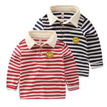 Boys striped baseball shirt long sleeve T-shirt in the autumn of 2016 the new children's clothing Han edition children
