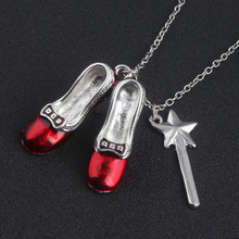 HOT SALE Wizard of Oz Alice in wonderland Sexy Red Shoes and Magic Wand Stars Charm necklace pendent Girls women jewelry