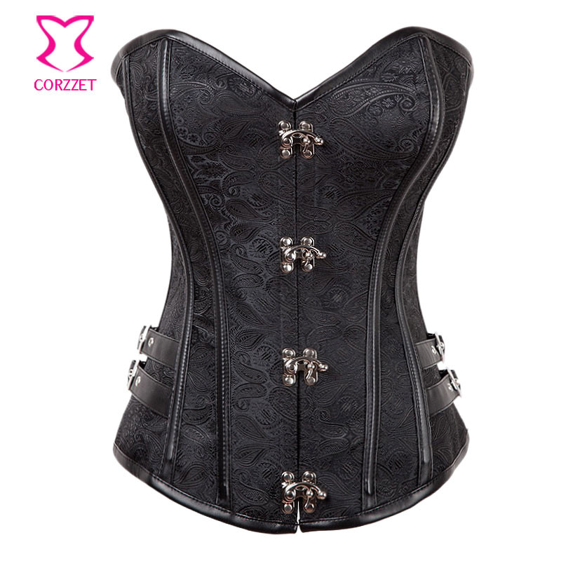 Corzzet Vintage Steel Boned Steampunk Overbust Corsets And Bustiers Waist Slimming Plus Size Gothic Clothing Korsett For Women