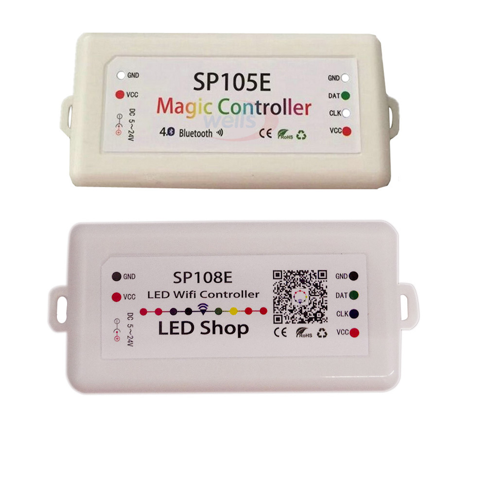 Wholesale SP108E/SP105E smart led pixel wifi/Bluetooth controller by phone IOS Android APP For WS2813 WS2811 WS2812B pixel strip
