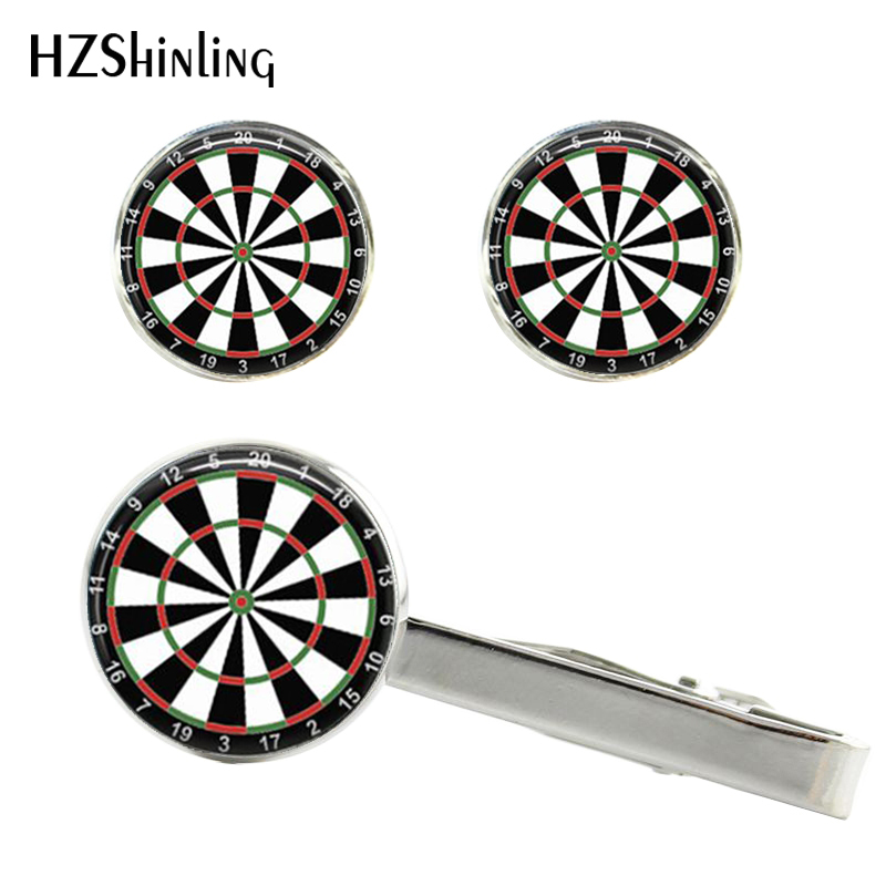 Dart-Board-Cuff Darts Gifts Silver Cufflink And Clip Men Round CT-005 Hand-Craft-Cuff