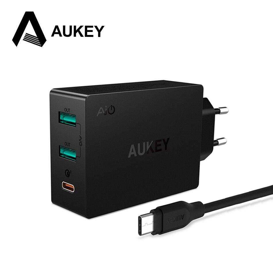 imágenes para AUKEY 2-en-1 Cargador de Teléfono Móvil Cargador de Pared Universal USB Tipo C Cargador Rápido 3.0 Rápido Cargador de Viaje para la Galaxia S8 Xiaomi