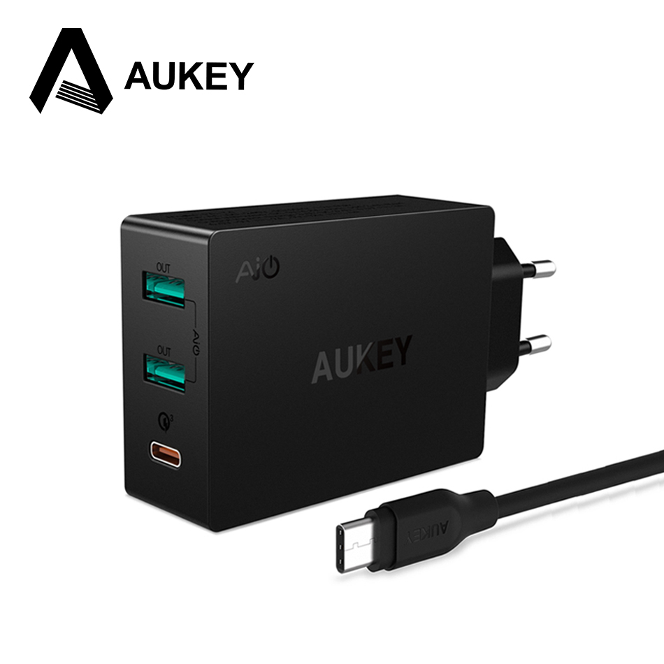 aukey type c quick charge 3 0 usb c charger 3 ports mobile wall adapter dual usb for iphone 7. Black Bedroom Furniture Sets. Home Design Ideas