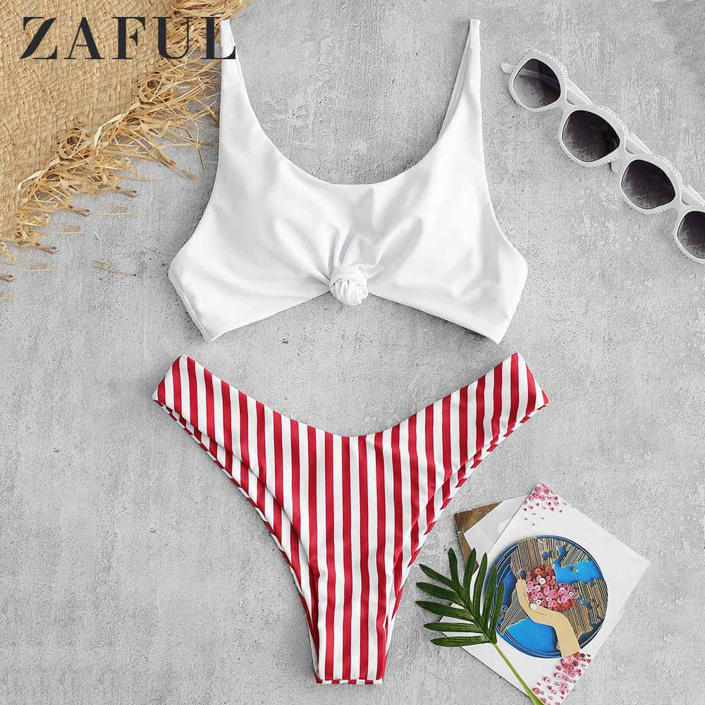 ZAFUL Contrast Striped Knot Women Set Summer Beach Suit Fashion Spaghetti Straps Padded Crop Top Shorts Sets Girls Beachwear