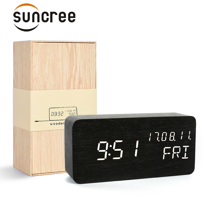 Suncree wooden LED gift box alarm clock,date+week+time temperature sound control Electronic Digital Table Desktop Clocks