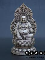 Pure copper backlight Maitreya Buddha statue Maitreya Buddha lotus flower Laughing Buddha big belly and bronze ware