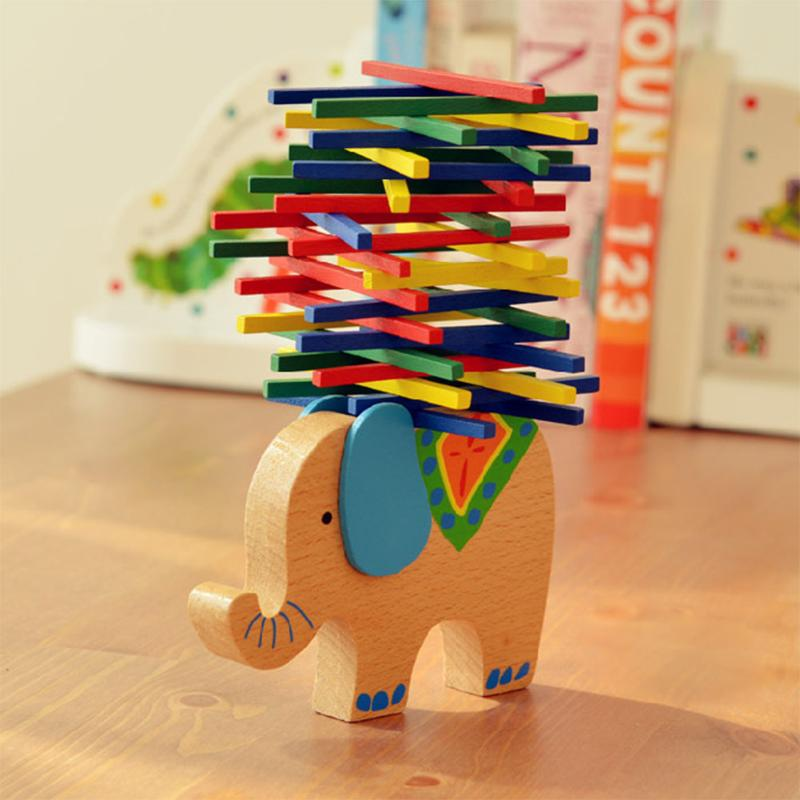 Elephant Color Rod Balance Beam Balancing Sticks Blocks Baby Wooden Toys Kids Cartoon An ...