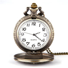 Copper Pocket Watch 2019 Simple China Great Wall Seal Cover Digital Scale White Dial Vintage Quartz Pocket Watch gift necklace 5(China)