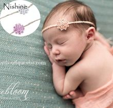 NISHINE New White Pink Flower Crystal Headbands Alloy Button Baby Girl TODDLERS Photography Props