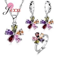 Модный женский рождественский подарок, высокое качество, 925 пробы, серебряные ювелирные наборы, разноцветное ожерелье с кристаллами+ серьги+ кольцо