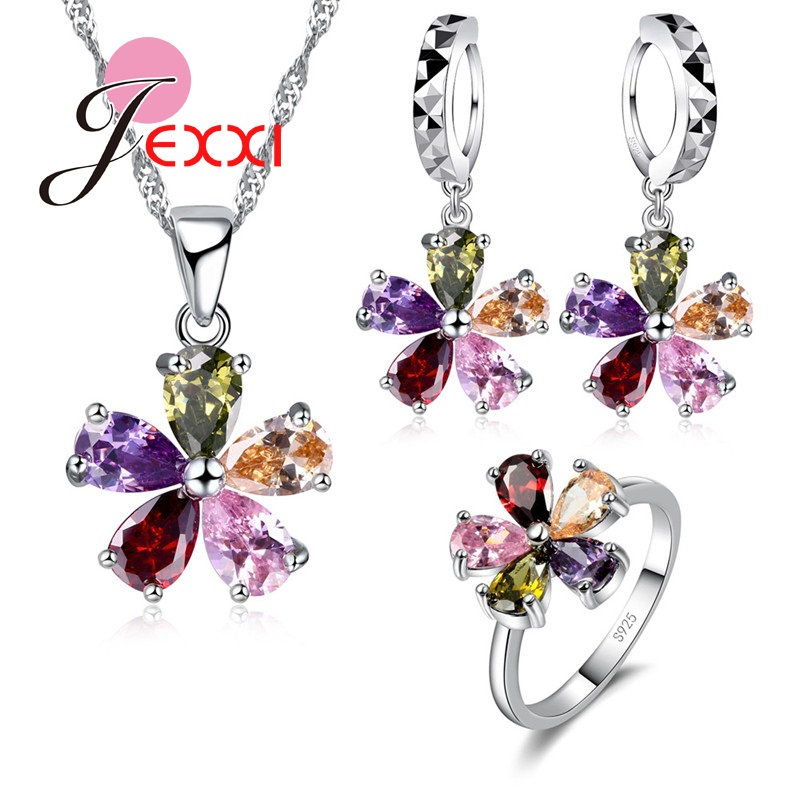 Fashion Woman Christmas Gift High Quality 925 Sterling Silver Jewelry Sets Multicolor Crystal Necklace + Earrings + Ring