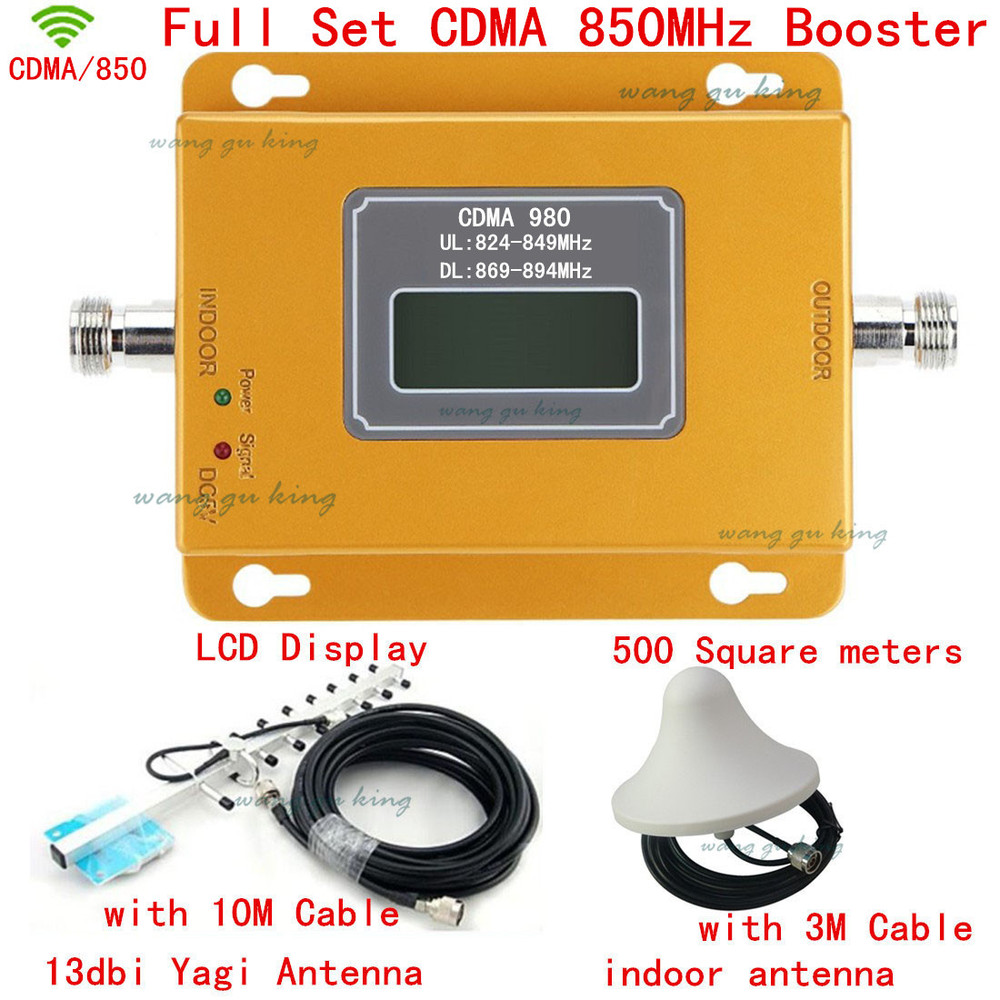 850 Cellular Signal Repeater CDMA 850 mhz Mobile Signal Amplifier 70dB GSM 850 Cell Phone Booster Full Kit with Antenna + cables850 Cellular Signal Repeater CDMA 850 mhz Mobile Signal Amplifier 70dB GSM 850 Cell Phone Booster Full Kit with Antenna + cables