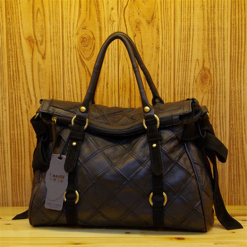 Caerlif Cowhide Fashion Women Bag black Genuine Leather Women's Shoulder Bags tote bag Women Handbag Crossbody Bags high quality 2017 women bag cowhide genuine leather fashion folding handbag chain shoulder bag crossbody bag handbag party clutch long wallet