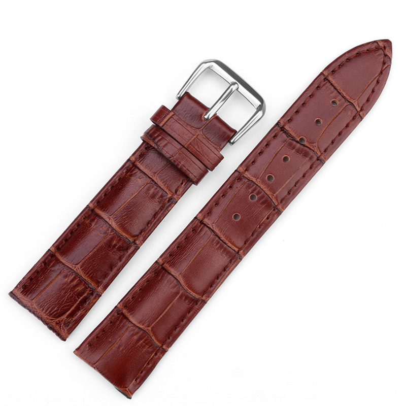 New Black Brown Watchband Genuine Leather Watch Band 14mm 18mm 20mm 22mm High Quality Watch Strap Stainless Steel Pin Buckle