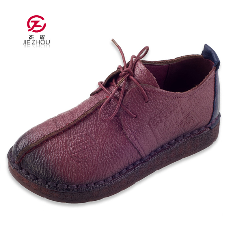 Fashion Retro Hand Sewing Shoes Women Flats Genuine Leather Soft Bottom Women Shoes Soft Comfortable Casual