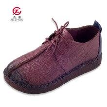 Moda retro mão costura sapatos femininos apartamentos de couro genuíno fundo macio sapatos femininos macio confortável sapatos casuais mulher mocassins