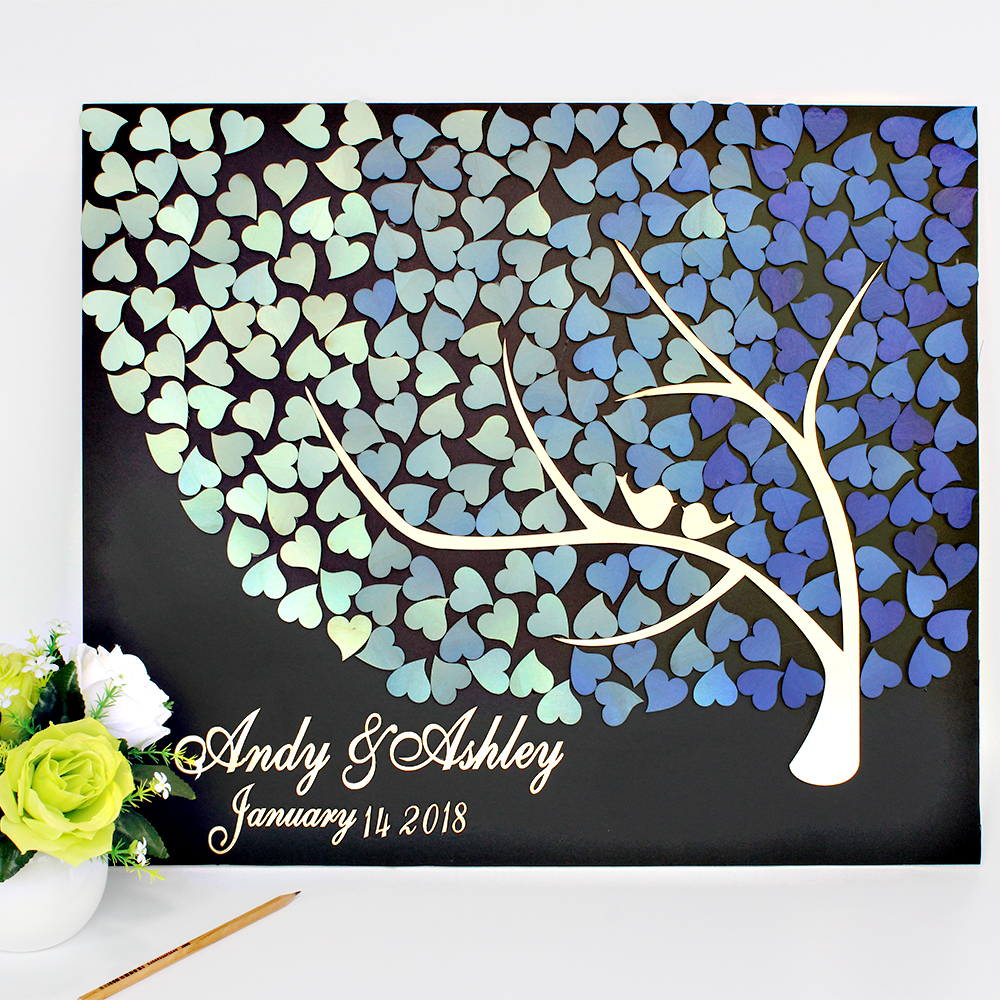 Personalized Wood 3D Wedding Guest Book Alternatives,Tree of Blue Gradient Hearts With Kiss Birds,Custom Engraved Guestbook