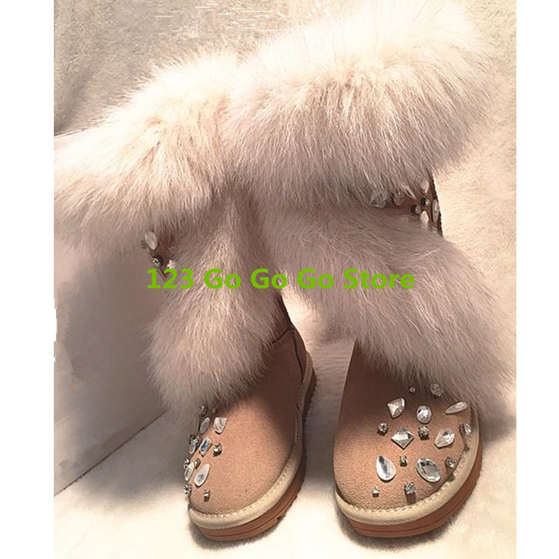 Winter Women Snow Boots Warm Plush Shoes Fur Decor Crystal Embellished Short Booties Mid-calf Boots Brand Design Flats Star Boot 2016 new warm snow boots women plush winter mid calf boots fashion wedding shoes brand lady botas flat shoes