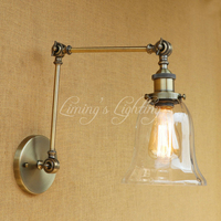 European Loft Wall Light LED Industrial GLASS Lampshade Free Adjust Long Swing Arms For Bedroom Restaurant Bar E27 Fixtures
