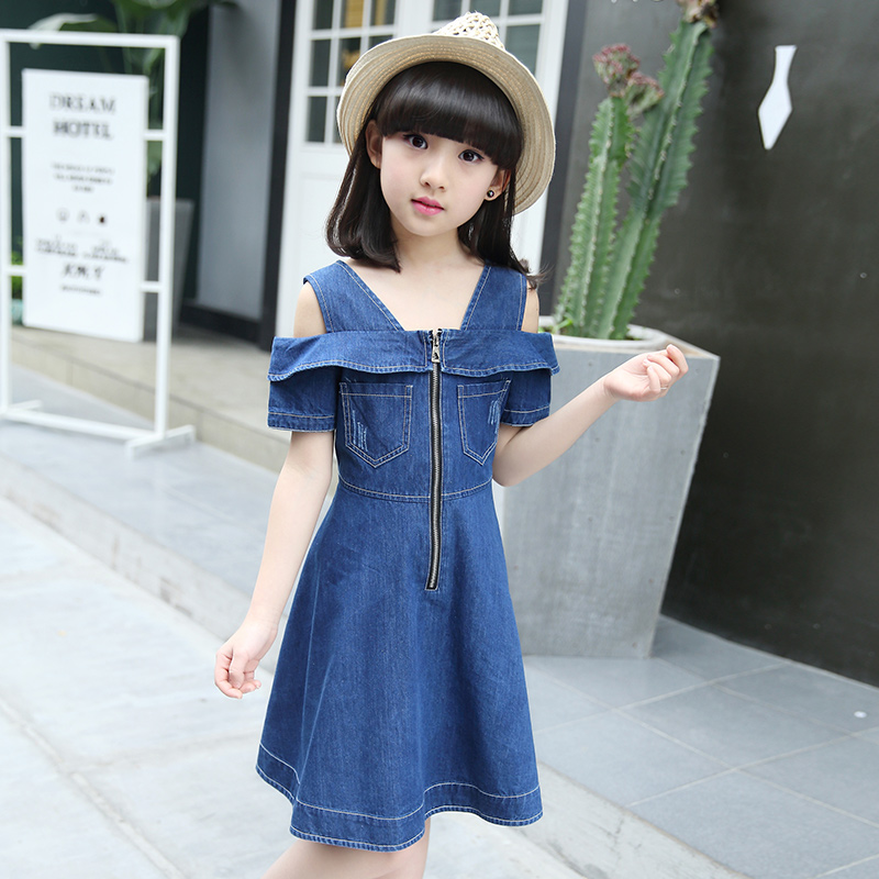 a513be67dea Girls Denim Dresses for Children Jean Clothes 2018 New Fashion Casual Dress  Blue Short Sleeve Jeans Vestidos 4 6 8 10 12 Years-in Dresses from Mother    Kids ...