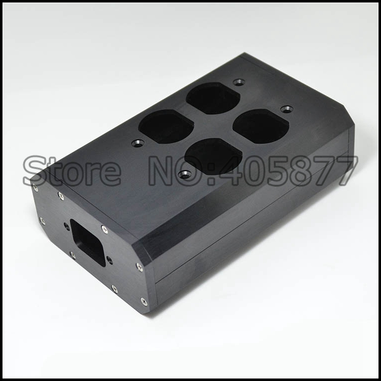 US AC Power Supply Distributor Aluminum 4 Outlet Box Audio Grade free shipping one pieces black aluminum us ac power distributor 8 outlet power supply box chassis case