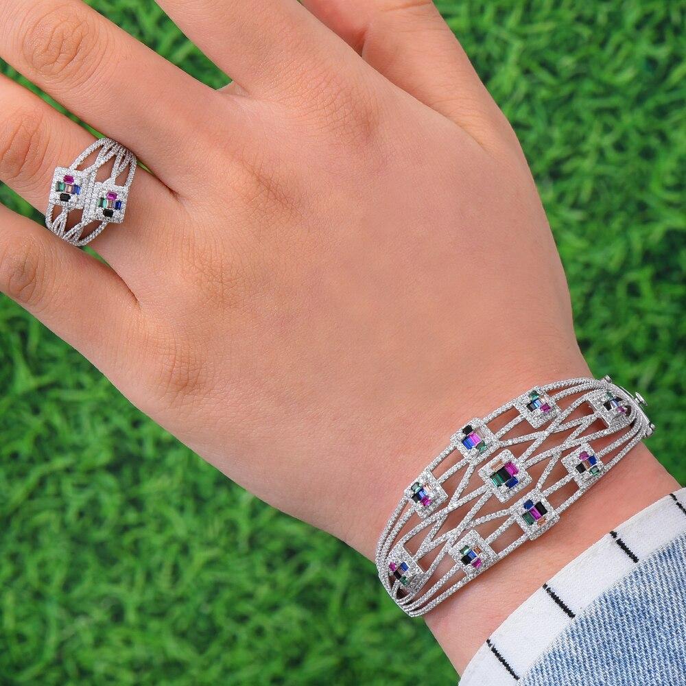 GODKI BIG Luxury 3pcs EARRING Bangle Ring Sets For Women Wedding Cubic Zircon Crystal Engagement DUBAI