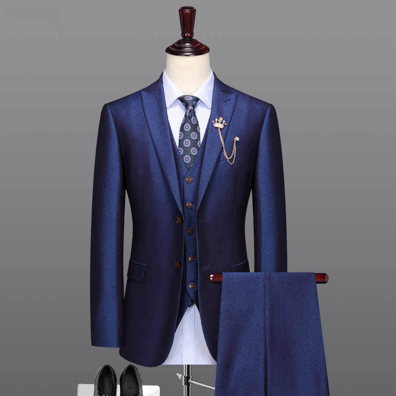 men suit royal blue man wedding suits father day gifts single breasted blazer vest pant 2pcs set 3pcs set slim fit 58 plus size