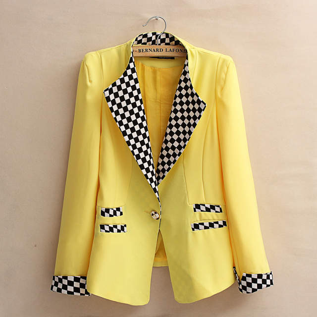 6677a7ec5211 Online Shop Candy jacket White Black Yellow Fashion New Slim Ladies Womens  One Button Suit Coat Blazer Jacket With Black White Plaid Cuff | Aliexpress  ...