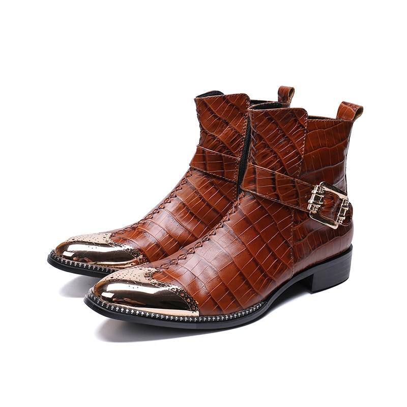 In vera Pelle tacco Basso zip stivali fibbia alla caviglia di modo di Coccodrillo rosso patten oxford punta a punta Martin stivali grande formato 46 su  Gruppo 1