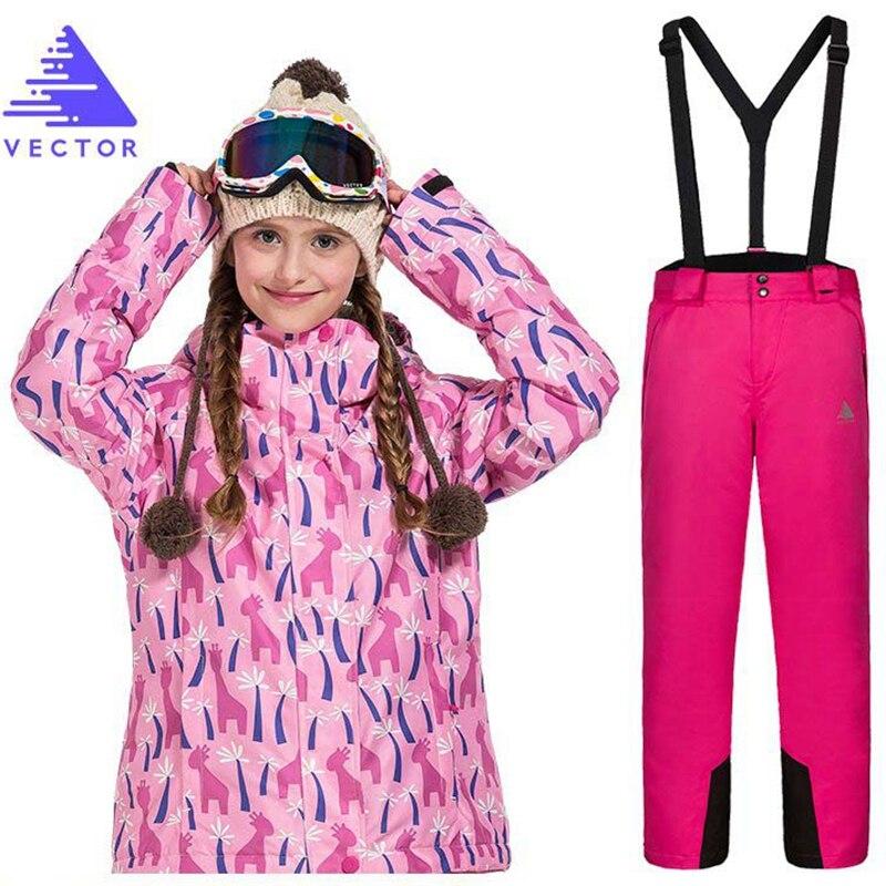 Combinaison de Ski pour filles pantalon imperméable + veste Snowboard ensemble Sports d'hiver Camping randonnée vêtements filles veste de neige vêtements thermiques