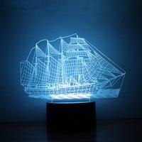 Novelty 3D Optical Illusion Sailboat Night Light RGB Battery USB Powered Home Decoration Energy Saving Lamp