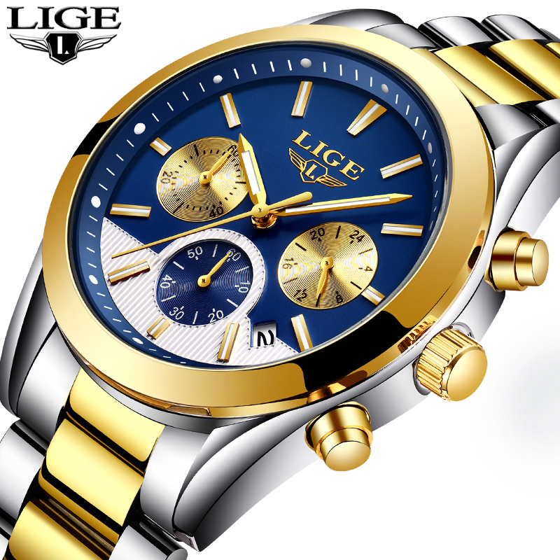 New Luxury Brand LIGE Men Gold Watches Men's Waterproof Stainless Steel Quartz Wristwatches Male Clock Relogio Masculino