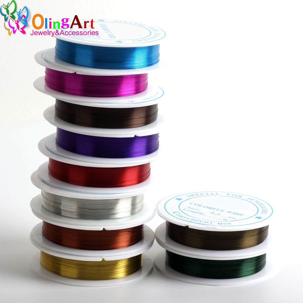OlingArt 0.4MM 7M/Roll Wire Line Mixed Multicolor Plated Beaded Crafts Wire DIY Choker Bracelet Necklace Jewelry Making 2019