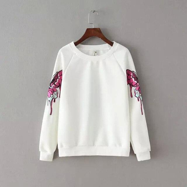 82658f92 Bordado de la mariposa sudadera mujer blanco negro ocasional flojo pullover  mujeres sudadera sudaderas jogging trajes