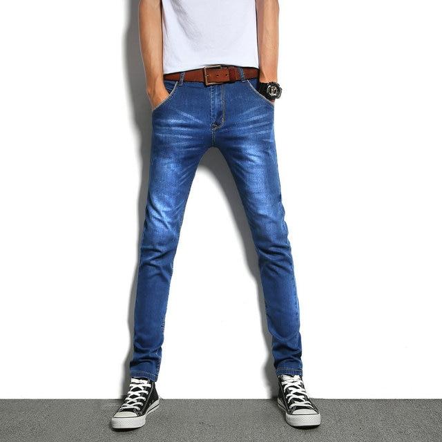 b1bc62737 Mens marca stretch skinny Vaqueros para hombres diseñador Denim Vaqueros Pantalones  hombre delgado elástico casual Jean