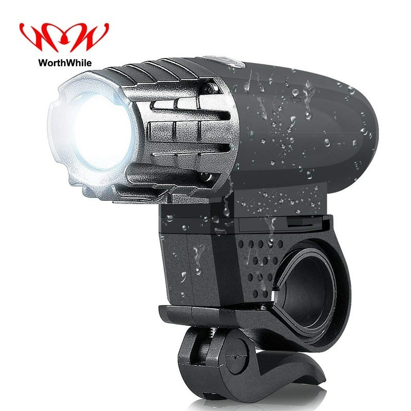 WorthWhile Bike Light Waterproof Head Front LED Flashlight for Bicycle Cycling Accessories Rechargeable Mountain Running Lamp
