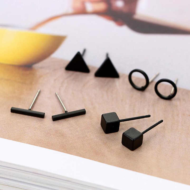 Jisensp 4 pairsset Small Round Triangle Bar Stud Earring for Women Geometric Square Earrings Black Jewelry Earings Wholesale