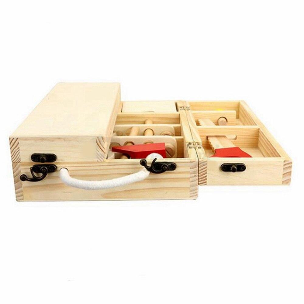 Ящик для инструментов, Ремонтный Столярный инструмент, инструмент из натурального дерева, деревянный 25 набор инструментов для ПК, Дошкольная игрушка, плотник, игрушка для мальчиков, набор для ремонта игрушек