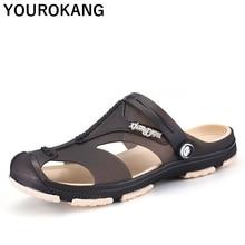 цены Summer Men's Flip Flops Plastic Male Slippers Flat Clogs Slip-on Garden Shoes Quick Dry Fashion Man Sandals Big Size Beach Shoes