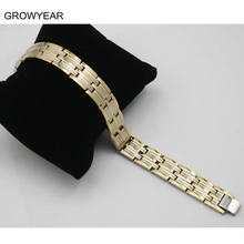 Silver Color Gold color Two Tone Link Chain Bangle Men Jewelry Stainless Steel Germanium Energy Health