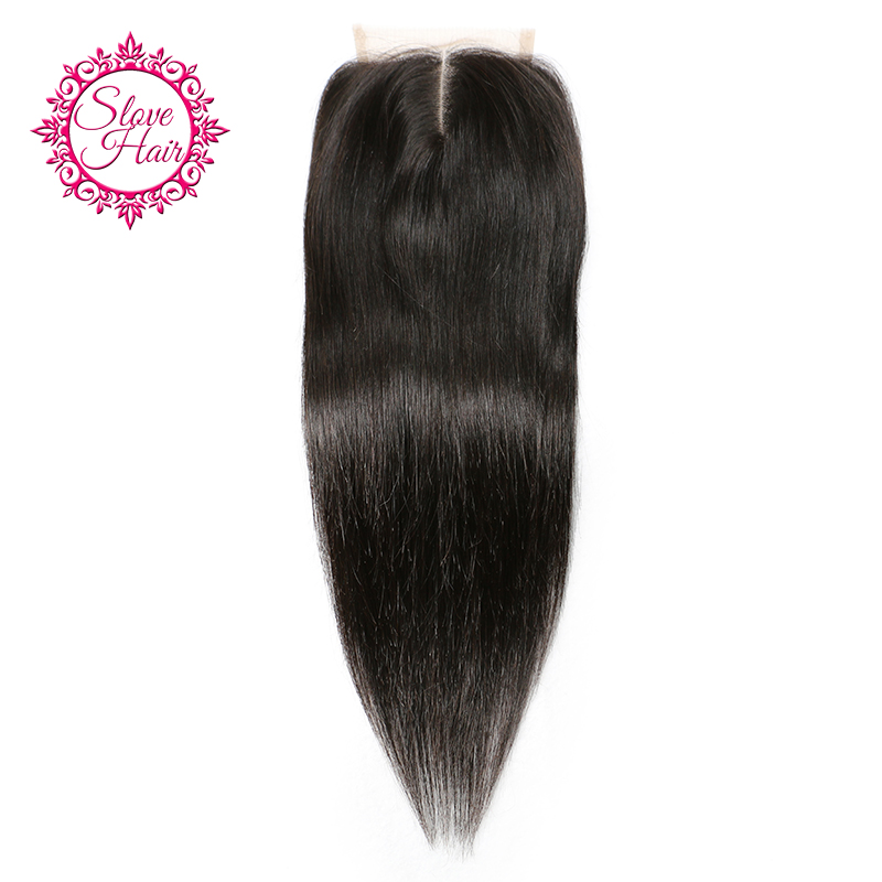 Slove Hair Brazilian Remy Straight Human Hair Lace Closure Middle Part Natural Color Bleached Knots Pre
