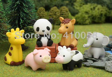 Free Shipping 20 Pcs Cute Animal Shaped Eraser Cartoon Designing for Dsicount Stationery Collection Wholesale Price