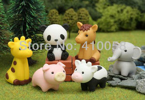 Image 1 - Free Shipping 25 Pcs Cute Animal Shaped Eraser Cartoon Design Eraser for  Discount Stationery Collection Wholesale Price