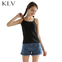 все цены на Women Summer Letters Print Spaghetti Strap Tank Top Solid Color Thread Ribbed Camisole Casual Scoop Neck Slim Fit Baselayer Vest онлайн